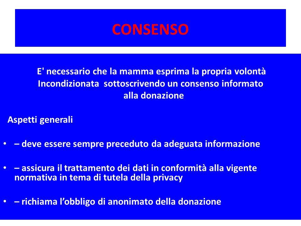 CONSENSO E' necessario che la mamma esprima la propria volontà Incondizionata sottoscrivendo un consenso informato alla donazione Aspetti generali – d
