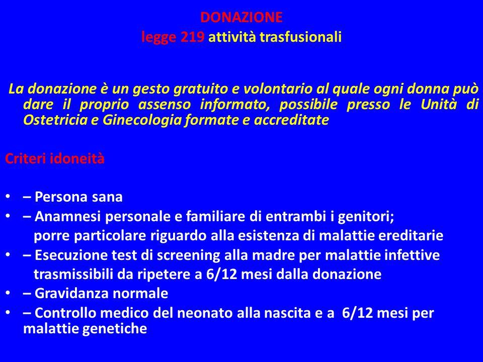 DONAZIONE legge 219 attività trasfusionali La donazione è un gesto gratuito e volontario al quale ogni donna può dare il proprio assenso informato, po