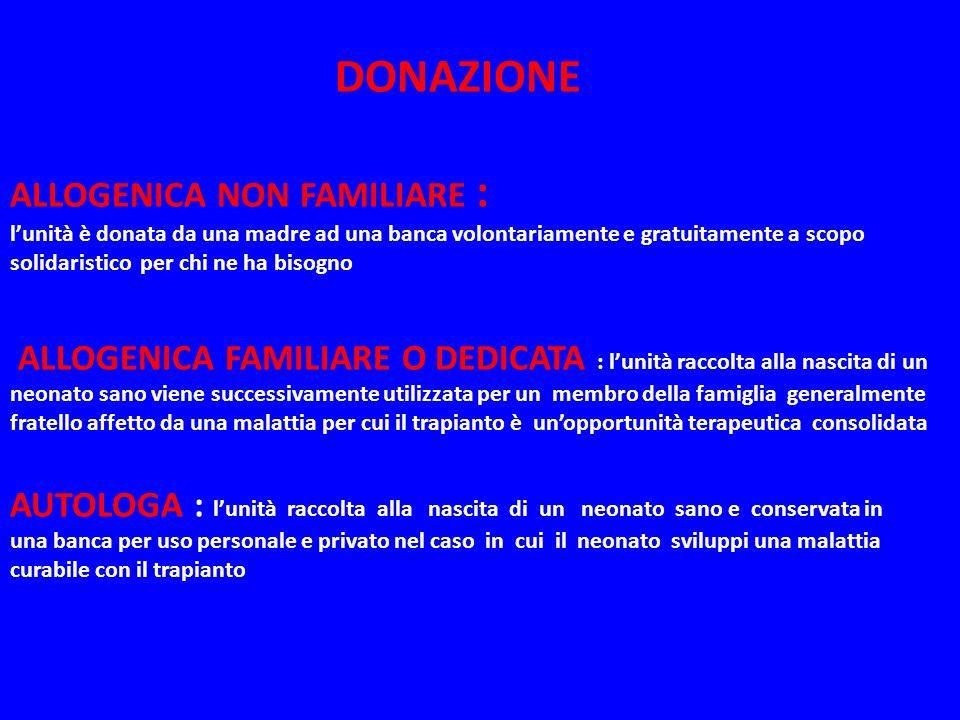 DONAZIONE ALLOGENICA NON FAMILIARE : lunità è donata da una madre ad una banca volontariamente e gratuitamente a scopo solidaristico per chi ne ha bis