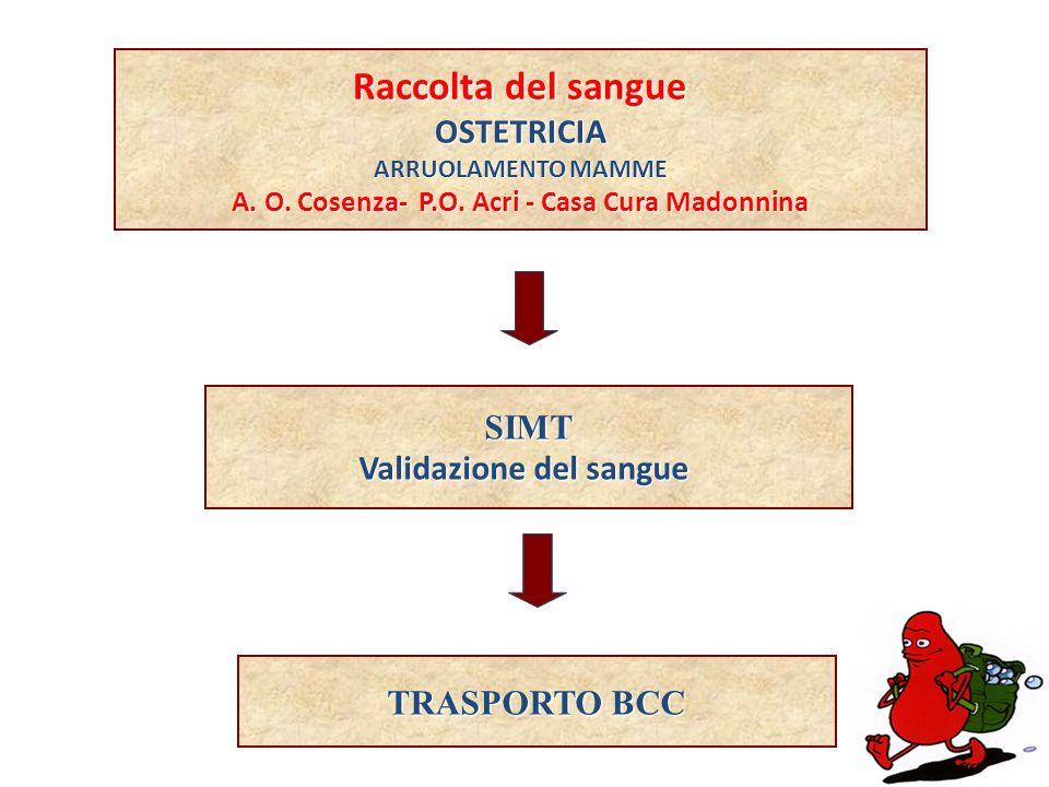 Raccolta del sangue OSTETRICIA ARRUOLAMENTO MAMME A. O. Cosenza- P.O. Acri - Casa Cura Madonnina SIMT Validazione del sangue TRASPORTO BCC