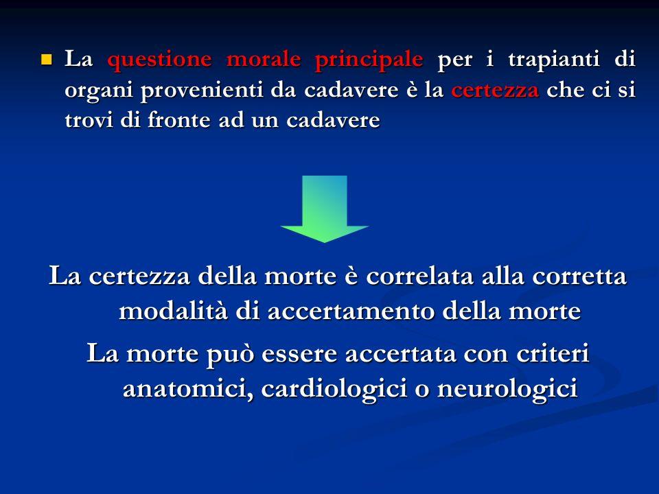 La questione morale principale per i trapianti di organi provenienti da cadavere è la certezza che ci si trovi di fronte ad un cadavere La questione m