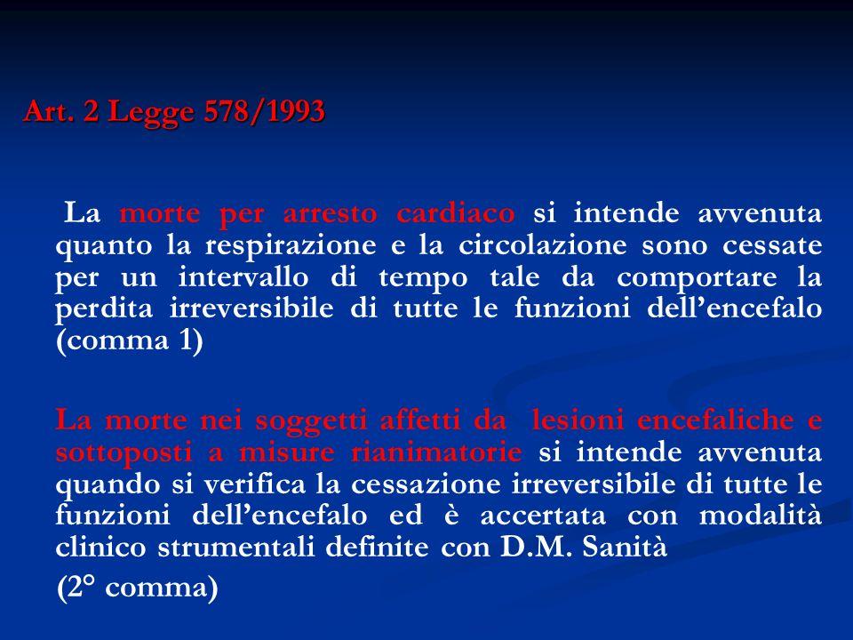 Art. 2 Legge 578/1993 La morte per arresto cardiaco si intende avvenuta quanto la respirazione e la circolazione sono cessate per un intervallo di tem