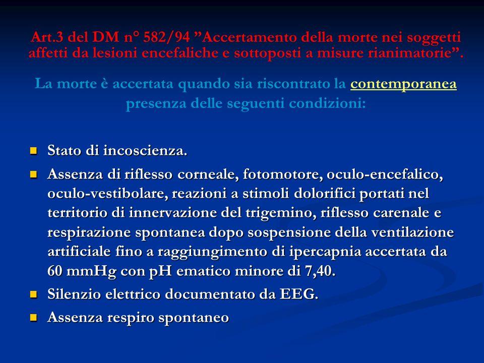 Art.3 del DM n° 582/94 Accertamento della morte nei soggetti affetti da lesioni encefaliche e sottoposti a misure rianimatorie. La morte è accertata q