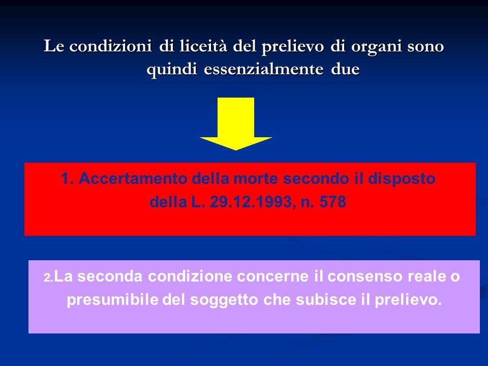 Le condizioni di liceità del prelievo di organi sono quindi essenzialmente due 1.Accertamento della morte secondo il disposto della L. 29.12.1993, n.