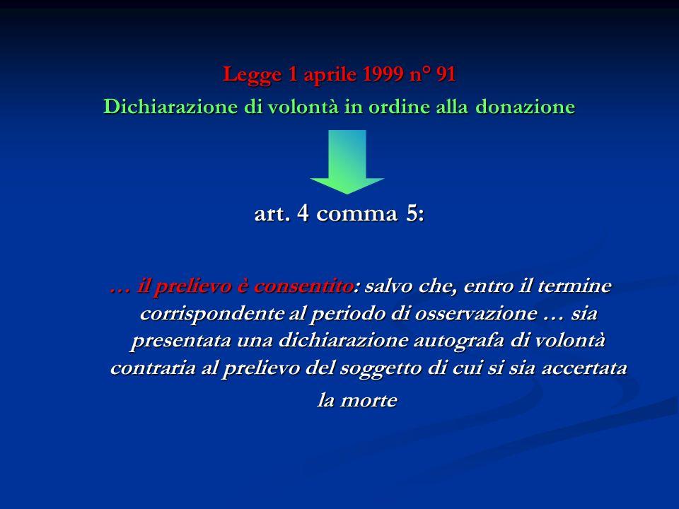 Legge 1 aprile 1999 n° 91 Dichiarazione di volontà in ordine alla donazione art. 4 comma 5: … il prelievo è consentito: salvo che, entro il termine co