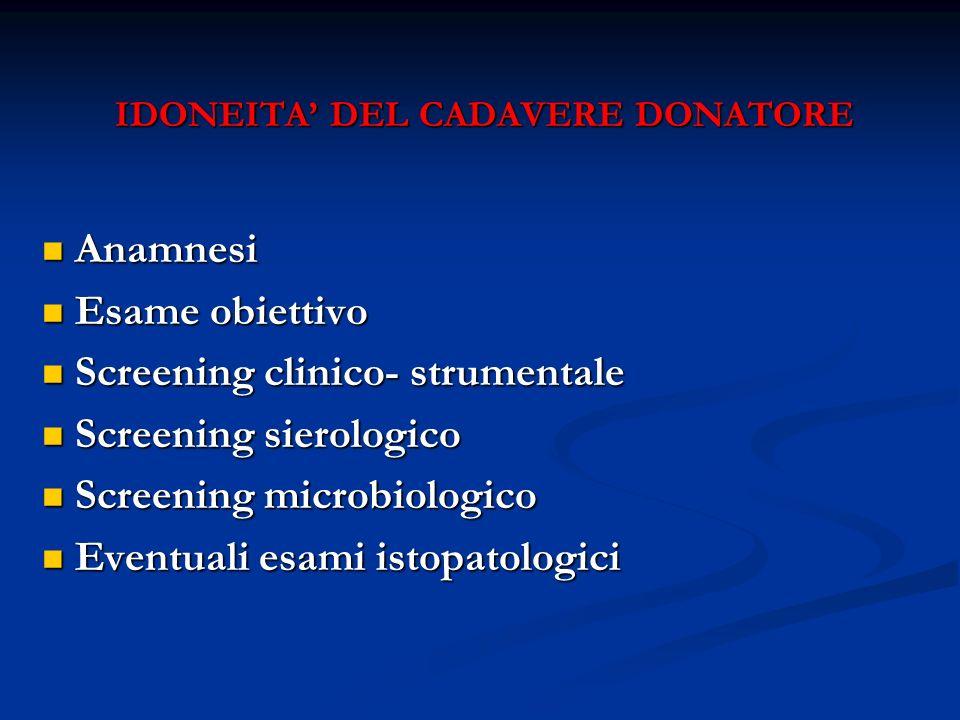 IDONEITA DEL CADAVERE DONATORE Anamnesi Anamnesi Esame obiettivo Esame obiettivo Screening clinico- strumentale Screening clinico- strumentale Screeni