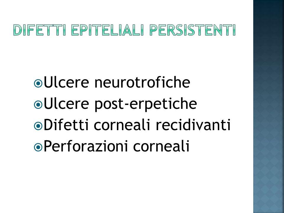 Ulcere neurotrofiche Ulcere post-erpetiche Difetti corneali recidivanti Perforazioni corneali