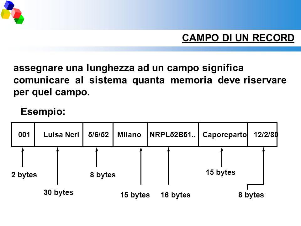 CAMPO DI UN RECORD assegnare una lunghezza ad un campo significa comunicare al sistema quanta memoria deve riservare per quel campo. 2 bytes8 bytes 30