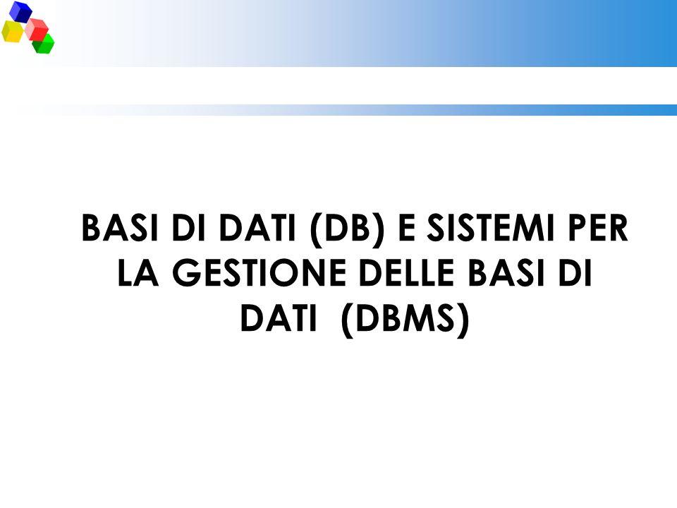 BASI DI DATI (DB) E SISTEMI PER LA GESTIONE DELLE BASI DI DATI (DBMS)