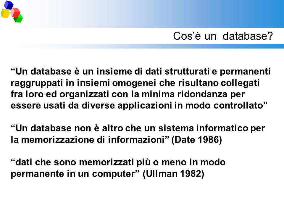 Cosè un database? Un database è un insieme di dati strutturati e permanenti raggruppati in insiemi omogenei che risultano collegati fra loro ed organi