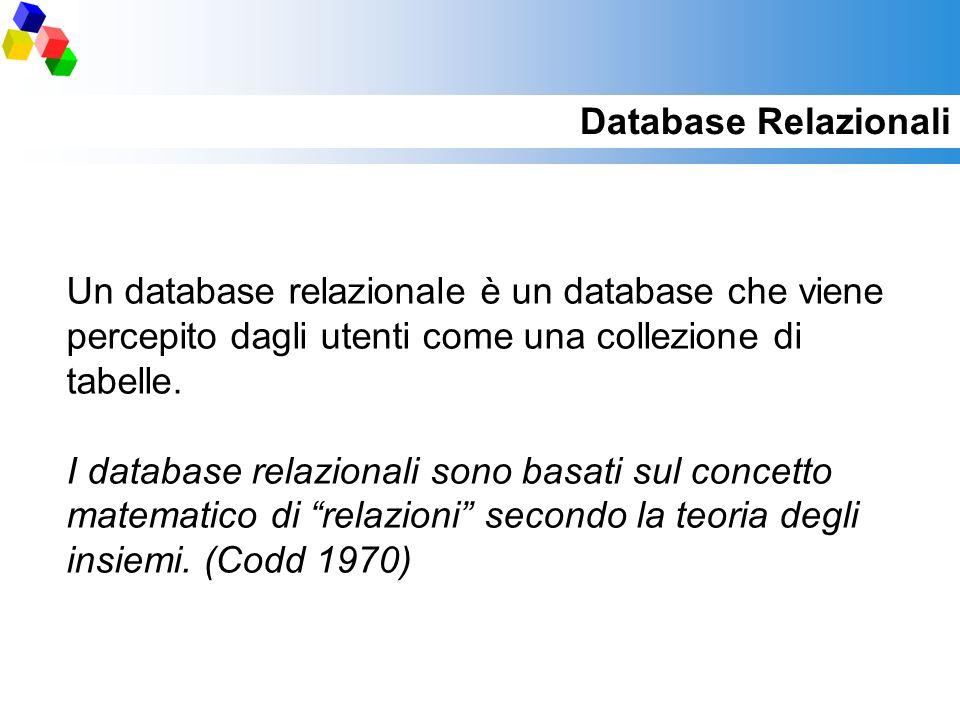 Database Relazionali Un database relazionale è un database che viene percepito dagli utenti come una collezione di tabelle. I database relazionali son