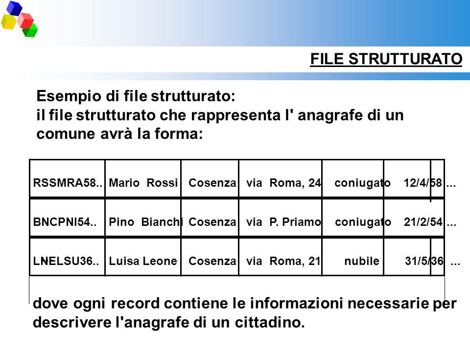 Esempio di file strutturato: il file strutturato che rappresenta l' anagrafe di un comune avrà la forma: RSSMRA58..Mario RossiCosenzavia Roma, 24 coni