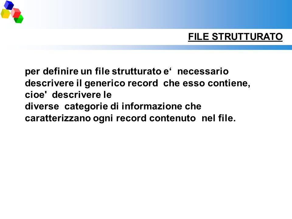 per definire un file strutturato e necessario descrivere il generico record che esso contiene, cioe' descrivere le diverse categorie di informazione c