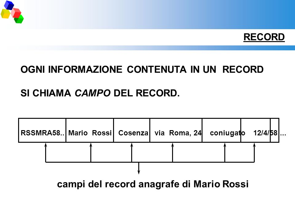 RECORD OGNI INFORMAZIONE CONTENUTA IN UN RECORD SI CHIAMA CAMPO DEL RECORD. RSSMRA58..Mario RossiCosenzavia Roma, 24 coniugato 12/4/58... campi del re