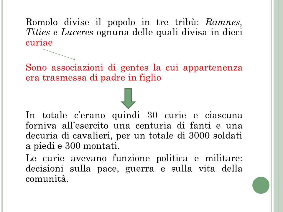 Romolo divise il popolo in tre tribù: Ramnes, Tities e Luceres ognuna delle quali divisa in dieci curiae Sono associazioni di gentes la cui appartenen