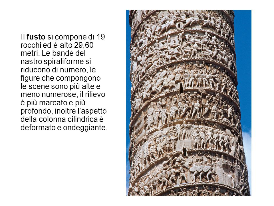 Il fusto si compone di 19 rocchi ed è alto 29,60 metri. Le bande del nastro spiraliforme si riducono di numero, le figure che compongono le scene sono