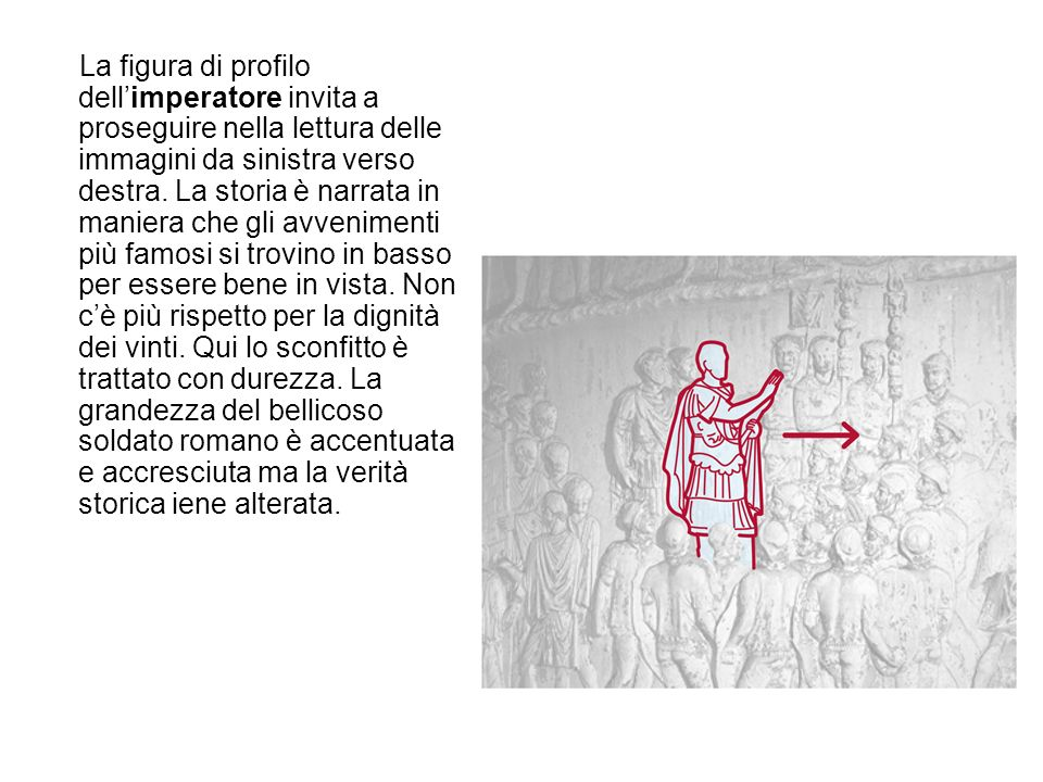 La figura di profilo dellimperatore invita a proseguire nella lettura delle immagini da sinistra verso destra. La storia è narrata in maniera che gli