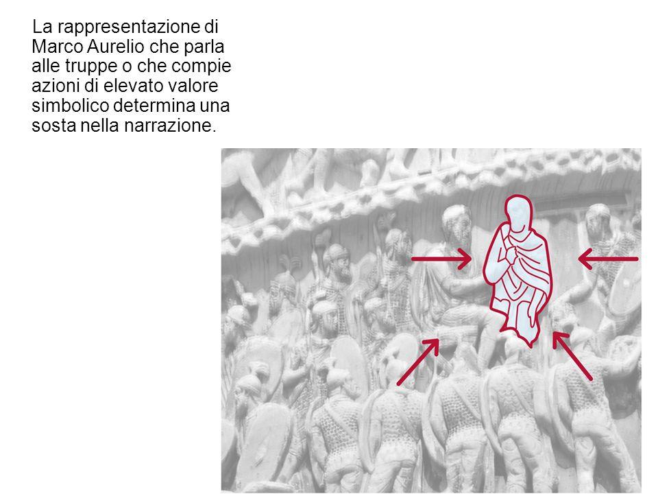 La rappresentazione di Marco Aurelio che parla alle truppe o che compie azioni di elevato valore simbolico determina una sosta nella narrazione.