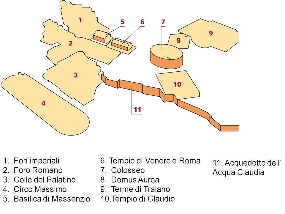 1.Fori imperiali 2.Foro Romano 3.Colle del Palatino 4.Circo Massimo 5.Basilica di Massenzio 6. Tempio di Venere e Roma 7.Colosseo 8.Domus Aurea 9.Term