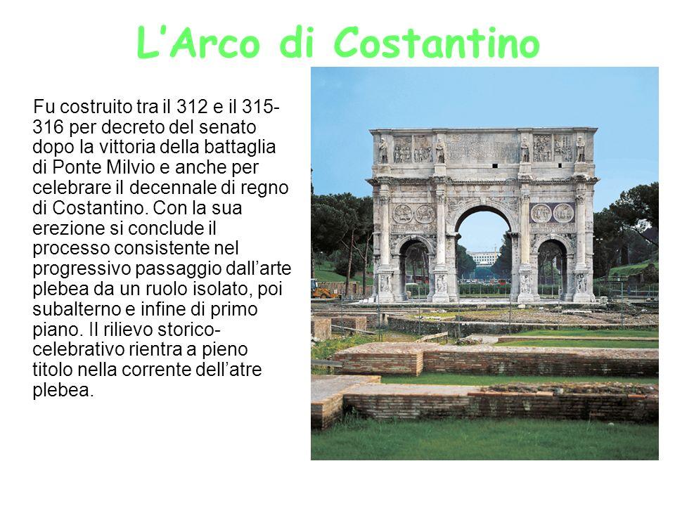 LArco di Costantino Fu costruito tra il 312 e il 315- 316 per decreto del senato dopo la vittoria della battaglia di Ponte Milvio e anche per celebrar