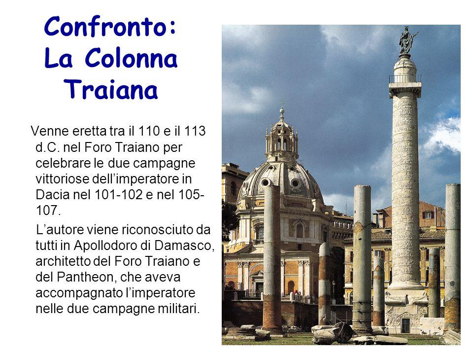 Confronto: La Colonna Traiana Venne eretta tra il 110 e il 113 d.C. nel Foro Traiano per celebrare le due campagne vittoriose dellimperatore in Dacia