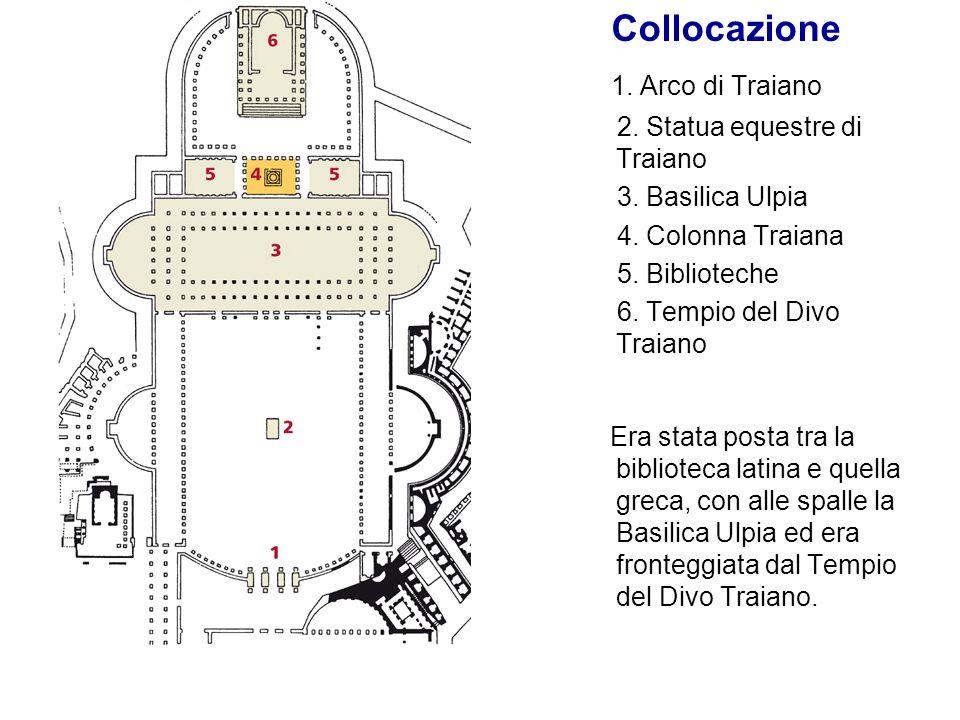 Collocazione 1. Arco di Traiano 2. Statua equestre di Traiano 3. Basilica Ulpia 4. Colonna Traiana 5. Biblioteche 6. Tempio del Divo Traiano Era stata