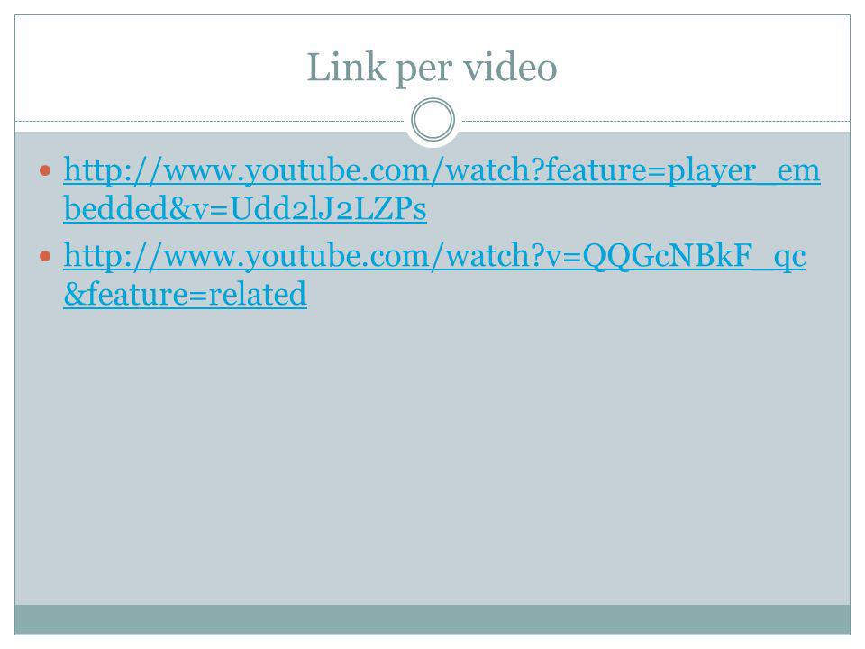 Link per video http://www.youtube.com/watch?feature=player_em bedded&v=Udd2lJ2LZPs http://www.youtube.com/watch?feature=player_em bedded&v=Udd2lJ2LZPs