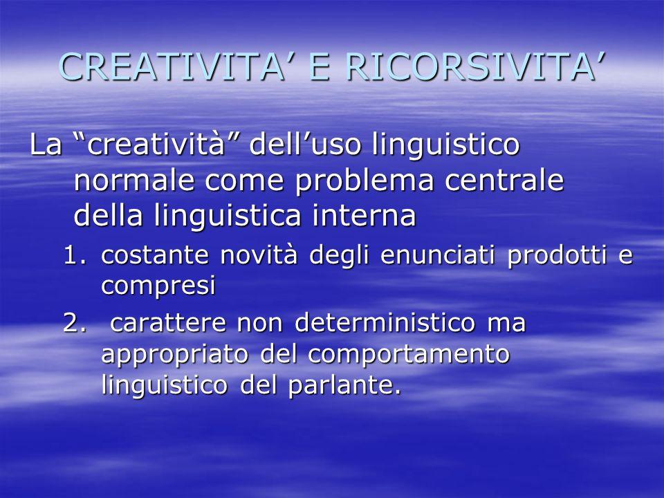 CREATIVITA E RICORSIVITA La creatività delluso linguistico normale come problema centrale della linguistica interna 1.costante novità degli enunciati
