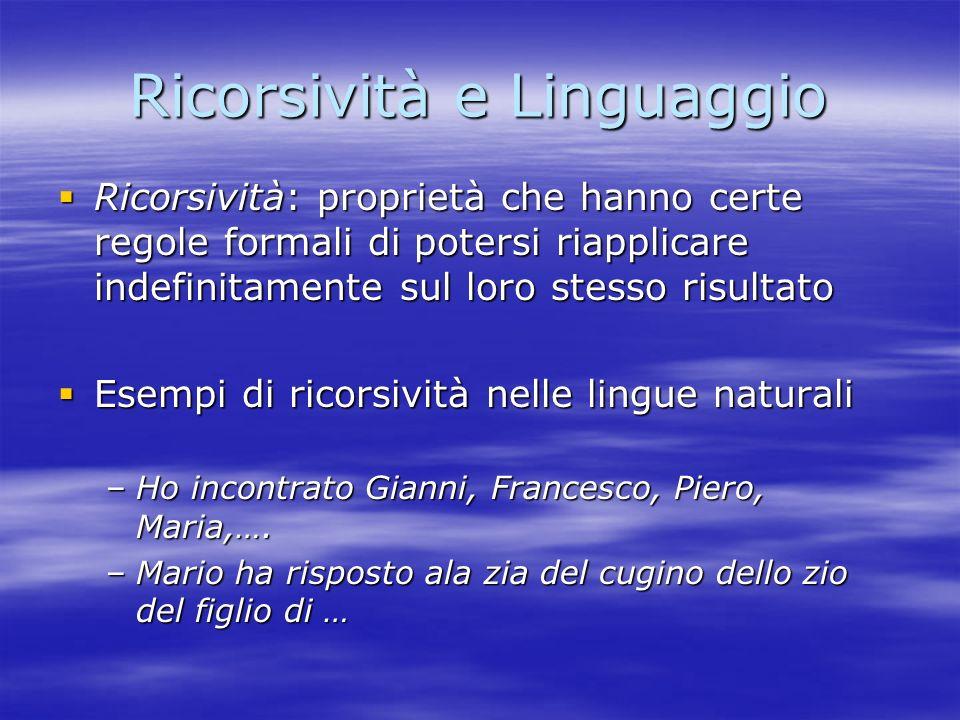 Ricorsività e Linguaggio Ricorsività: proprietà che hanno certe regole formali di potersi riapplicare indefinitamente sul loro stesso risultato Ricors