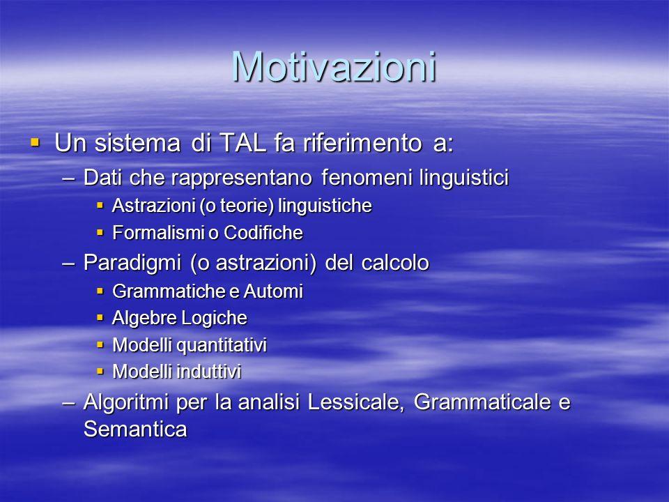 Motivazioni Un sistema di TAL fa riferimento a: Un sistema di TAL fa riferimento a: –Dati che rappresentano fenomeni linguistici Astrazioni (o teorie)