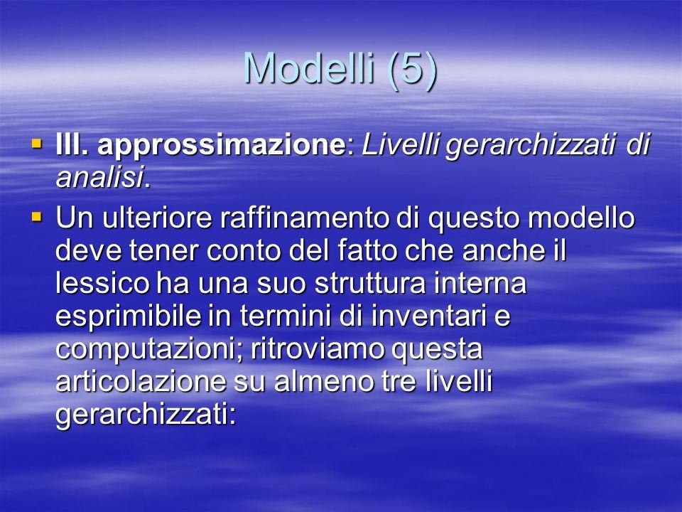 Modelli (5) III. approssimazione: Livelli gerarchizzati di analisi. III. approssimazione: Livelli gerarchizzati di analisi. Un ulteriore raffinamento