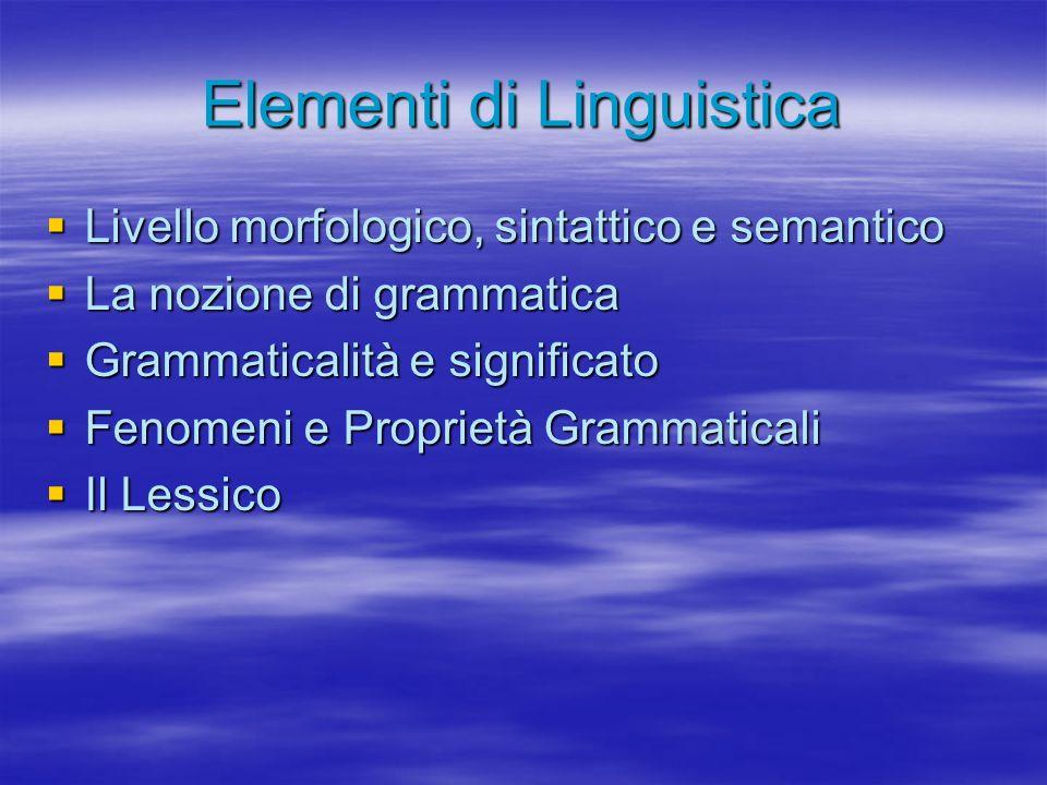 Grammatica e Sostituibilità (2) Vantaggi: Vantaggi: –Maggiore livello di astrazione –Formalismo algebrico per controllare il dato linguistico (empirico) –Formalismo che esprime sistematicamente la ricorsività, ad es.