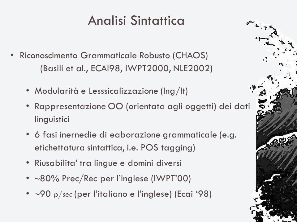 Analisi Sintattica Riconoscimento Grammaticale Robusto (CHAOS) (Basili et al., ECAI98, IWPT2000, NLE2002) Modularità e Lesssicalizzazione (Ing/It) Rappresentazione OO (orientata agli oggetti) dei dati linguistici 6 fasi inernedie di eaborazione grammaticale (e.g.