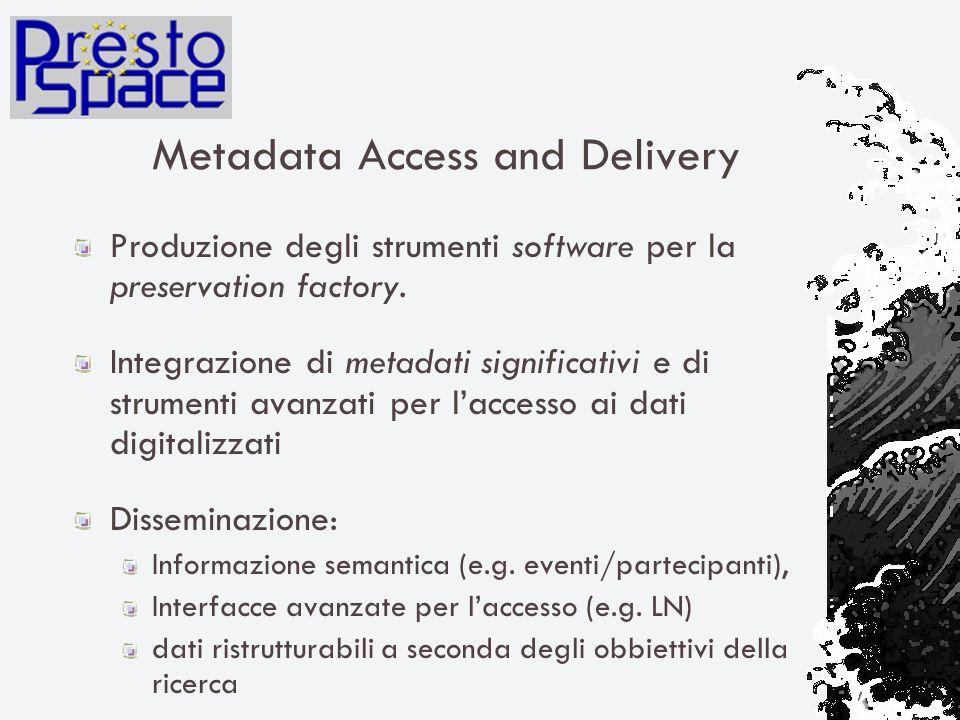 Metadata Access and Delivery Produzione degli strumenti software per la preservation factory.