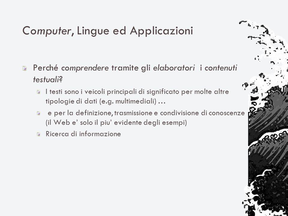 Computer, Lingue ed Applicazioni Perché comprendere tramite gli elaboratori i contenuti testuali.
