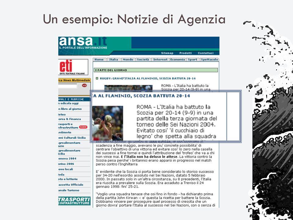 Un esempio: Notizie di Agenzia