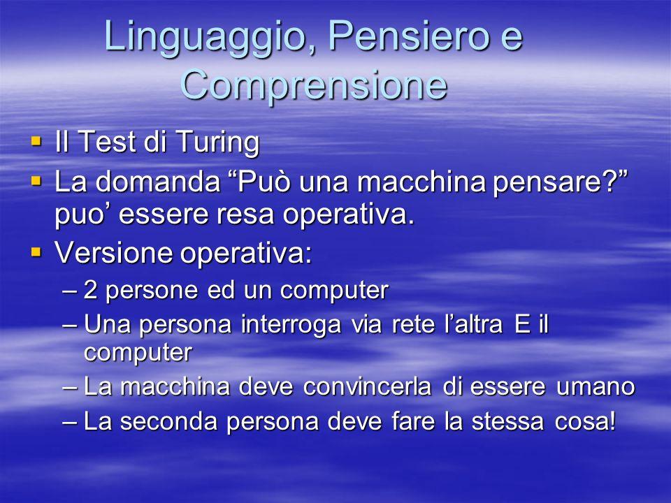 Linguaggio, Pensiero e Comprensione Il Test di Turing Il Test di Turing La domanda Può una macchina pensare.