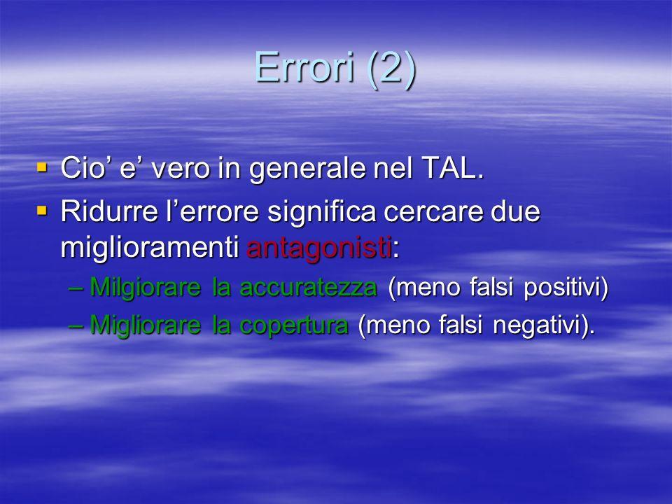 Errori (2) Cio e vero in generale nel TAL.Cio e vero in generale nel TAL.