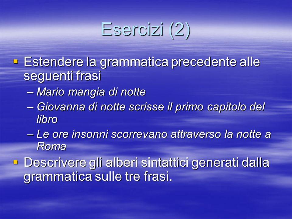 Esercizi (2) Estendere la grammatica precedente alle seguenti frasi Estendere la grammatica precedente alle seguenti frasi –Mario mangia di notte –Gio