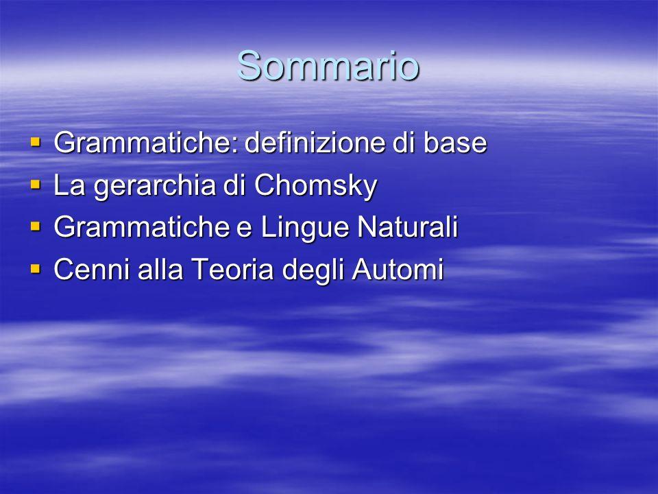 Sommario Grammatiche: definizione di base Grammatiche: definizione di base La gerarchia di Chomsky La gerarchia di Chomsky Grammatiche e Lingue Naturali Grammatiche e Lingue Naturali Cenni alla Teoria degli Automi Cenni alla Teoria degli Automi