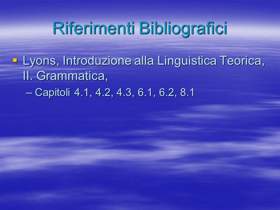 Riferimenti Bibliografici Lyons, Introduzione alla Linguistica Teorica, II.