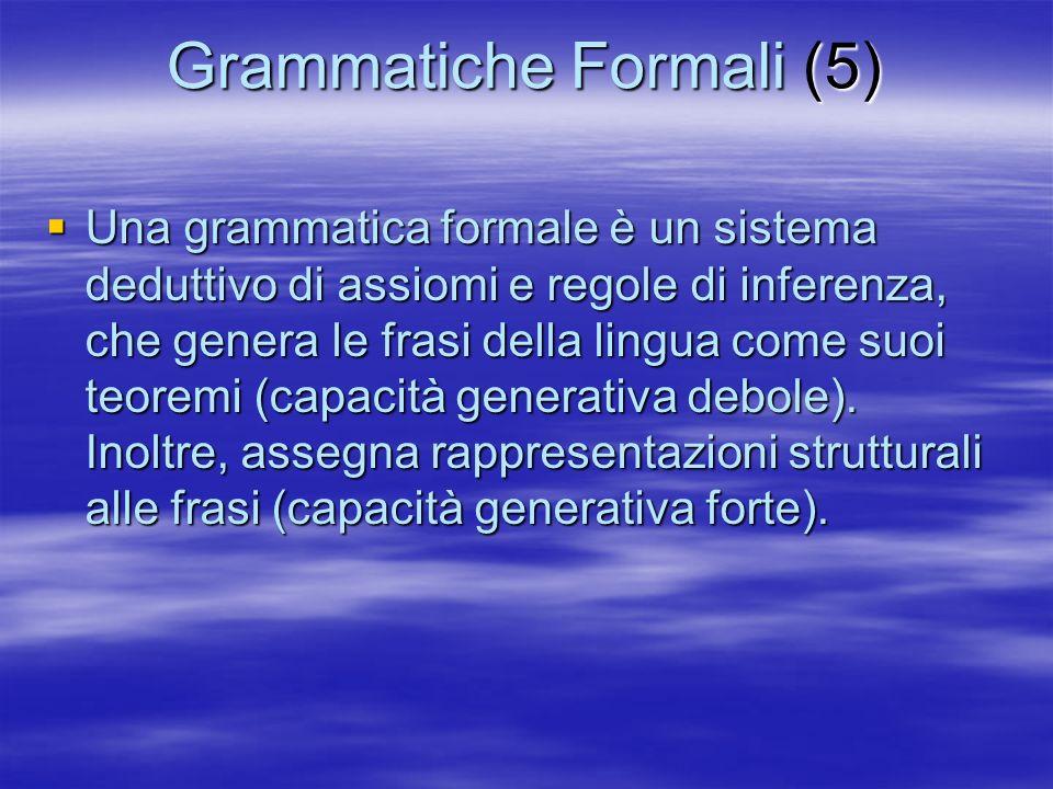 Grammatiche Formali (6) Una grammatica formale è definita da una quadrupla : Una grammatica formale è definita da una quadrupla : –(i) Un vocabolario terminale V T –(ii) Un vocabolario non terminale V N –(iii) Un assioma, o simbolo iniziale S V N –(iv) Un insieme di regole di riscrittura –(iv) Un insieme di regole di riscrittura Nella sua forma più generale, la parte sinistra e la parte destra della regola di riscrittura sono stringhe qualsiasi costruite sui due vocabolari, con la sola restrizione che la parte sinistra deve contenere almeno un simbolo di V N.