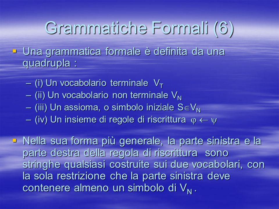 Grammatiche Formali (6) Una grammatica formale è definita da una quadrupla : Una grammatica formale è definita da una quadrupla : –(i) Un vocabolario