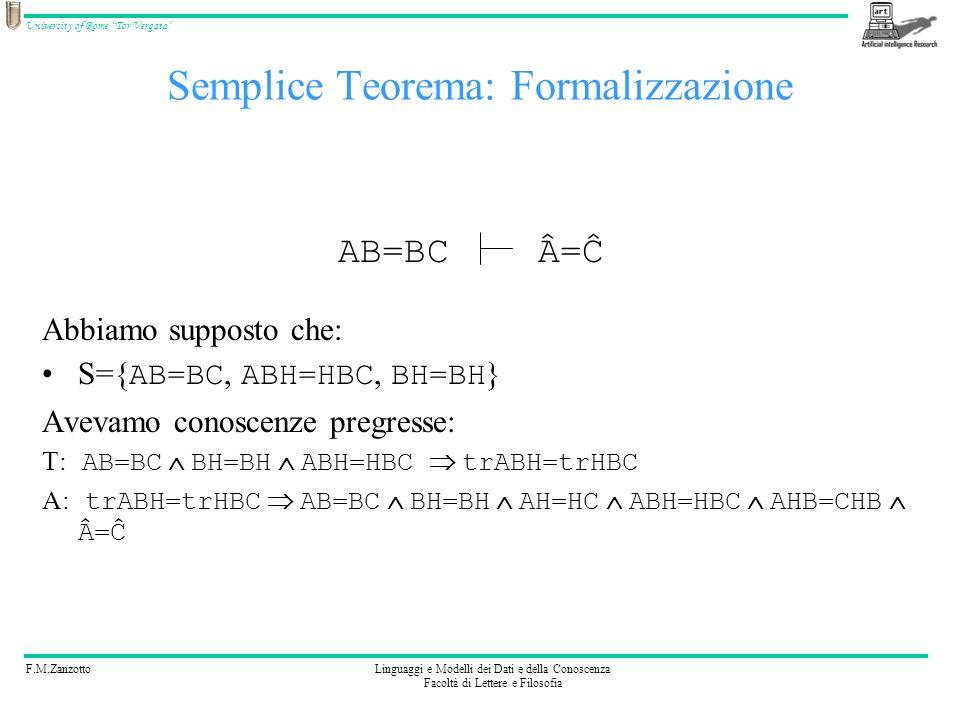 F.M.ZanzottoLinguaggi e Modelli dei Dati e della Conoscenza Facoltà di Lettere e Filosofia University of Rome Tor Vergata Abbiamo supposto che: S={ AB