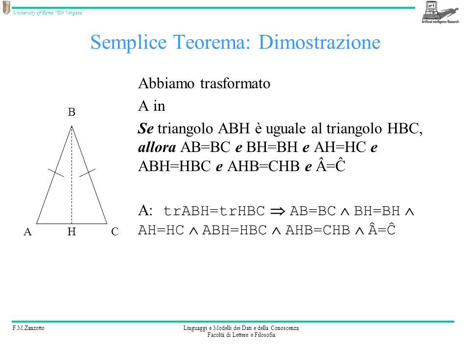 F.M.ZanzottoLinguaggi e Modelli dei Dati e della Conoscenza Facoltà di Lettere e Filosofia University of Rome Tor Vergata Semplice Teorema: Dimostrazi