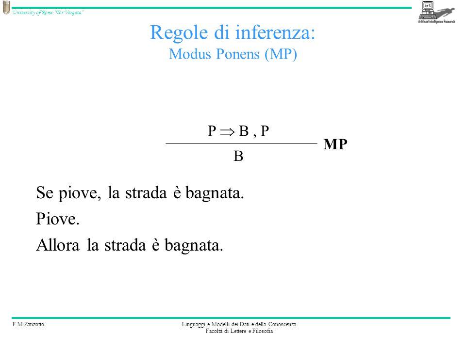 F.M.ZanzottoLinguaggi e Modelli dei Dati e della Conoscenza Facoltà di Lettere e Filosofia University of Rome Tor Vergata Regole di inferenza: Modus P