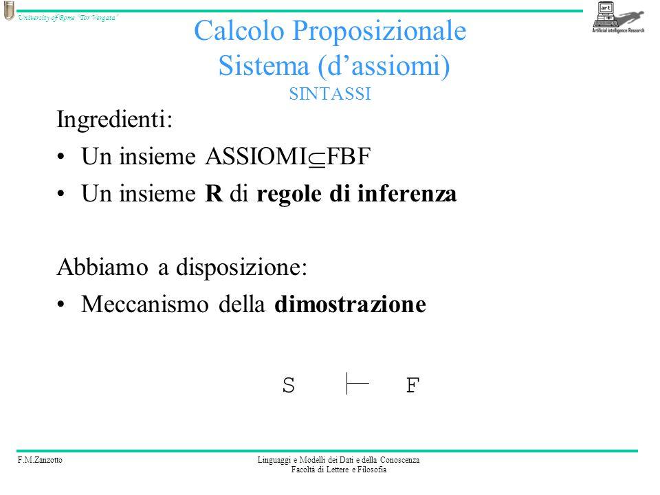 F.M.ZanzottoLinguaggi e Modelli dei Dati e della Conoscenza Facoltà di Lettere e Filosofia University of Rome Tor Vergata Calcolo Proposizionale Siste