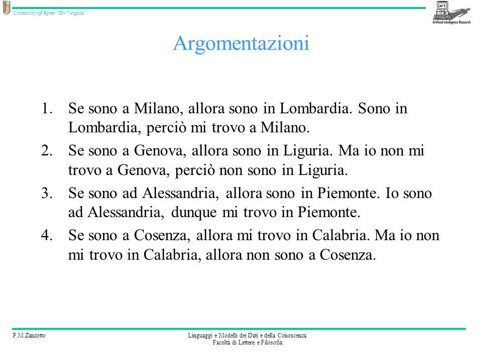 F.M.ZanzottoLinguaggi e Modelli dei Dati e della Conoscenza Facoltà di Lettere e Filosofia University of Rome Tor Vergata Argomentazioni 1.Se sono a M