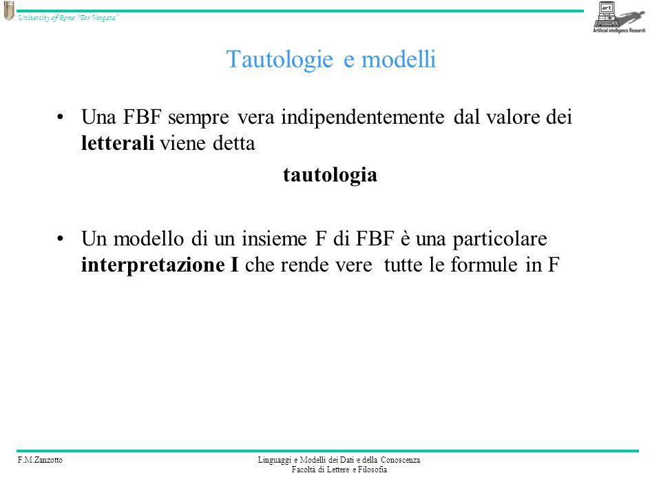 F.M.ZanzottoLinguaggi e Modelli dei Dati e della Conoscenza Facoltà di Lettere e Filosofia University of Rome Tor Vergata Tautologie e modelli Una FBF