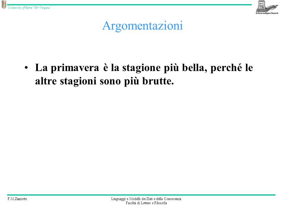 F.M.ZanzottoLinguaggi e Modelli dei Dati e della Conoscenza Facoltà di Lettere e Filosofia University of Rome Tor Vergata Abbiamo costruito una catena di formule: P1: AB=BC da S P2: ABH=HBC da S P3: BH=BH da S P4: AB=BC BH=BH ABH=HBC da P1,P2,P3 e REGOLA 2 P5: trABH=trHBC da P4,T e REGOLA 1 P6: AB=BC BH=BH AH=HC ABH=HBC AHB=CHB Â=Ĉ da P5,A e REGOLA 1 P7: Â=Ĉ da P6 e REGOLA 3 Semplice Teorema: Formalizzazione AB=BCÂ=ĈÂ=Ĉ T: AB=BC BH=BH ABH=HBC trABH=trHBC A: trABH=trHBC AB=BC BH=BH AH=HC ABH=HBC AHB=CHB Â=Ĉ